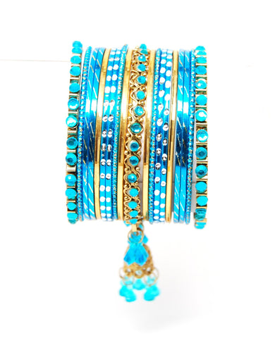Bollywood style Indian designer metal bangle set. Size:2-08. Color:Gold - Blue