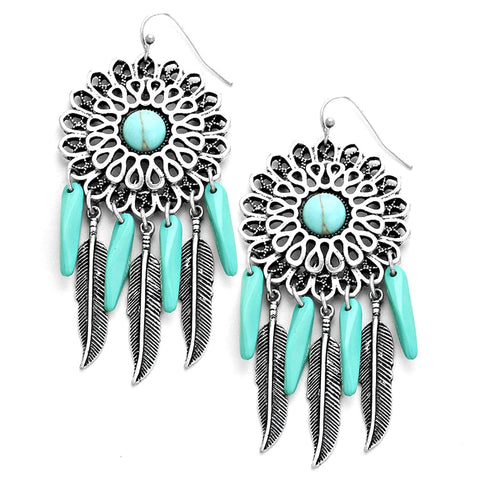 BOHO HOWLITE METAL LEAF DREAMCATCHER EARRINGS / AZERSW375-AST