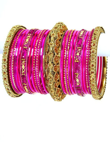 Bollywood style Indian designer metal bangle set. Size:2-08. Color:Gold