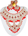 Fashion Trendy Bollywood Style Indian Imitation Necklace Set For Women / AZBWBR006-RED