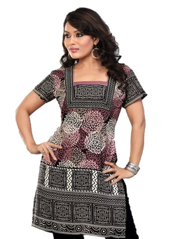 Indian Tunic Top Womens / Kurti Printed Blouse tops - AZDKJD-41S3