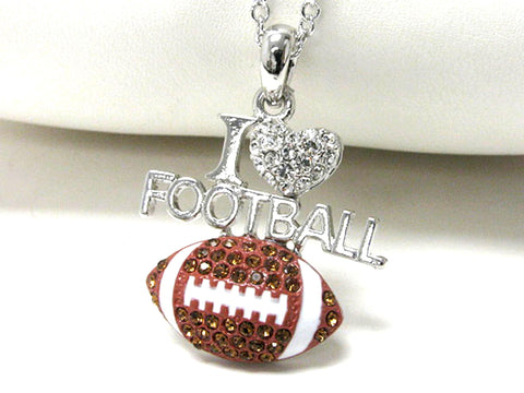 I Love Football pendant necklace - Silver/Brown