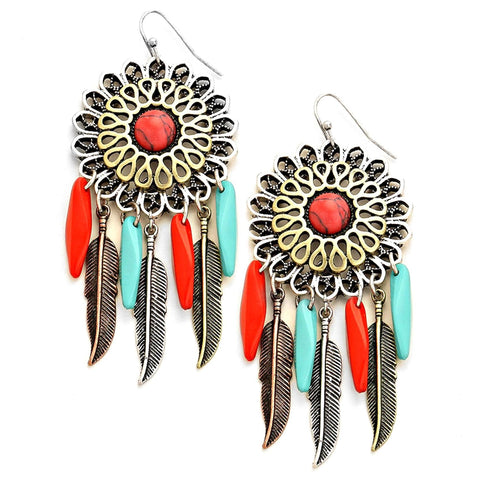 BOHO HOWLITE METAL LEAF DREAMCATCHER EARRINGS / AZERSW375-AGM