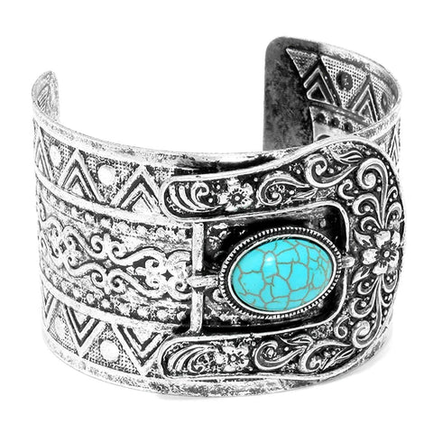 Fashion Trendy Antique Metal Buckle Effect Turquoise Cuff Bracelet For Women/AZBRCF436-AST