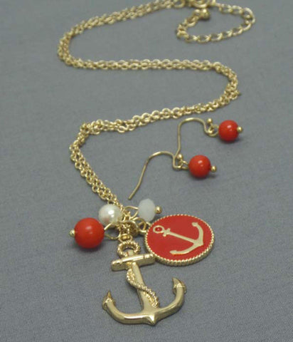 Epoxy Anchor Disk and Pearl Dangle Necklace Earring Set / AZNSSEA007-GRD