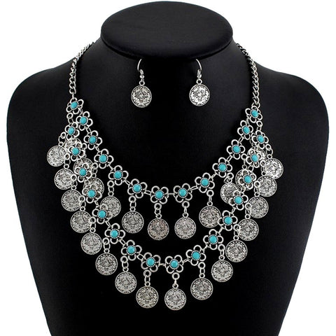 Fashion Belly Dance Vintage Bohemian Tibetan Silver Turkish Ethnic Necklace Set for Women