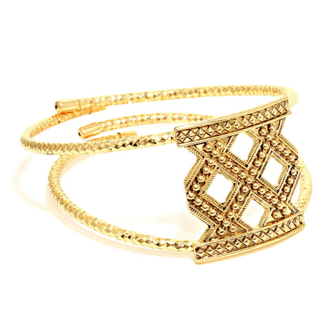 Tribal Style Metal Upper Arm Cuff Bracelet / AZMIAB605-AGL