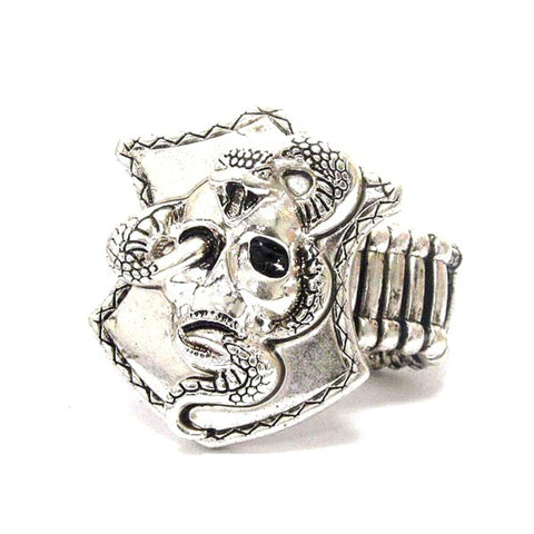 Arras Creations Fashion Trendy Unisex Skull and Snake Deco Bikers Stretch Ring / AZRIFR003-ASL-BIK