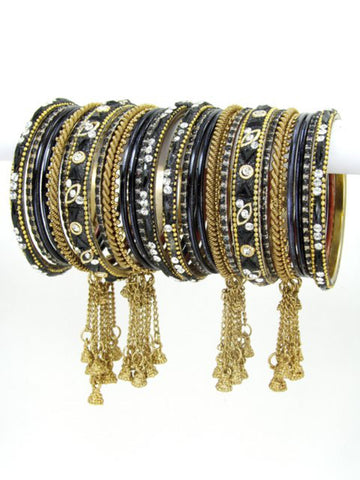 Bollywood Indian designer Bangle Set. Size:2-08. Color:Gold / Black