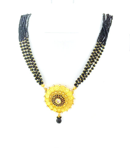 Arras Creations Designer Imitation Short Kolhapuri Style Coin Mangalsutra Necklace for Women / AZMNGS419-GBK