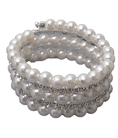 Fashion Crystal and Imtiation Pearl link and coiled stretch bracelet for Women / AZBRBB003-SPE