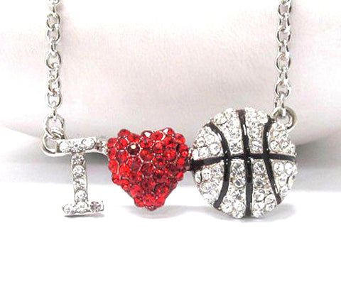 I love basketball pedant necklace - Silver/Red-Black / AZSJCH005-SRB
