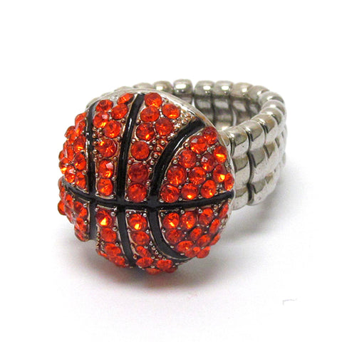 Sports BasketBall - Crystal Stud Basket Ball Stretch Ring