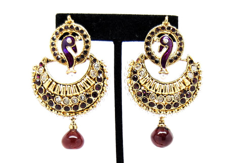 Fashion Trendy Imitation Designer Bollywood Earrings For Women/AZERP3015 (Purple)