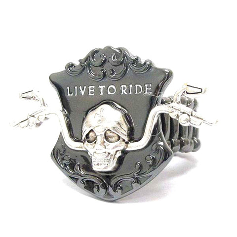Fashion Trendy Skull and Bike Handle and Live To Ride Bikers Stretch Ring For Unisex