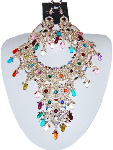 Bollywood Style Indian Imitation Necklace Set / AZBWBR015-GMU