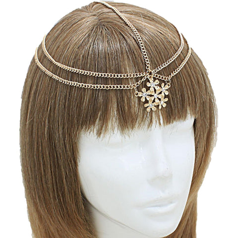 Fashion Trendy Flower Parallel Strand Head Chain for Women