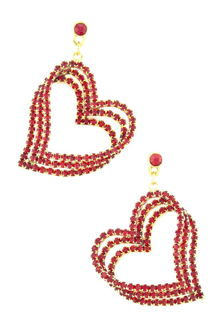 Valentine Jeweled Heart Dangle Earrings / AZERFH203-GRD-HRT