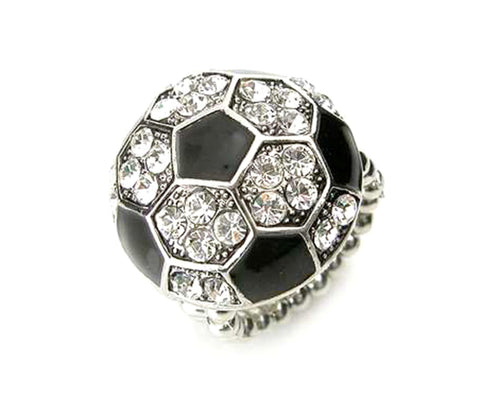 Sports SoccerBall - Crystal Stud Soccer Ball Stretch Ring / AZSJRI008-SBK