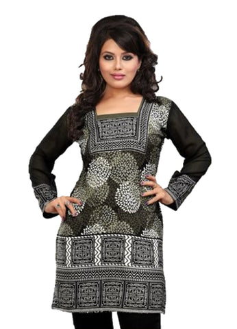 Indian Tunic Top Womens / Kurti Printed Blouse tops - AZDKJD-42C4