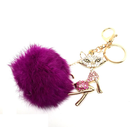 Rhinestone Crystal Fox Keychain Fox Pom Pom Fur Ball Key Chain / AZKCPCA01-GPU