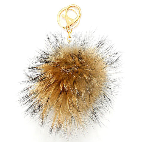 Color Block Pom Pom Rabbit Fur Key Chain / Bag Charm / AZKCPP829-GBC