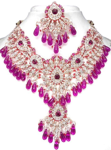 Fashion Trendy Bollywood Style Indian Imitation Necklace Set For Women / AZBWBR013-GDP