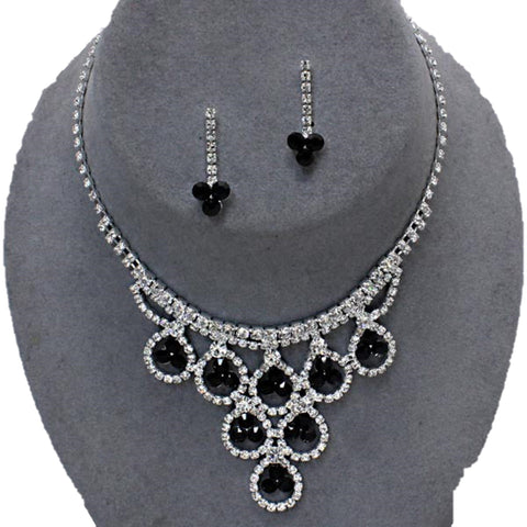 Arras Creations Trendy Fashion Rhinestone Necklace Set for Women. / AZBLRH071-SBK