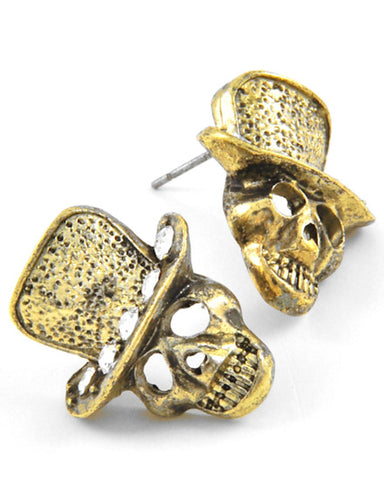 Burnished Gold Tone Halloween Skull Post Earring Set / AZERFH106-BGL-HAL