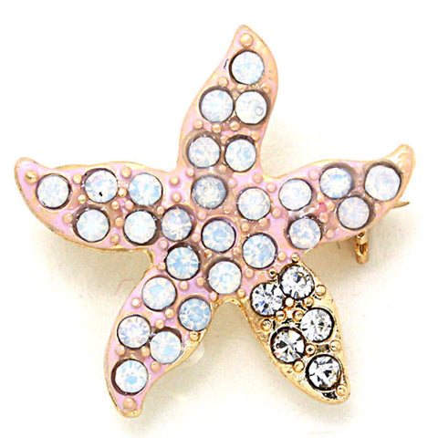 Opal Crystal Starfish Pin Brooch/ Brooches / AZBRSEA002-PCL
