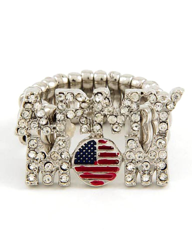 Fashion Trendy Army Mom Motif Patriotic USA Stretch Ring For Women