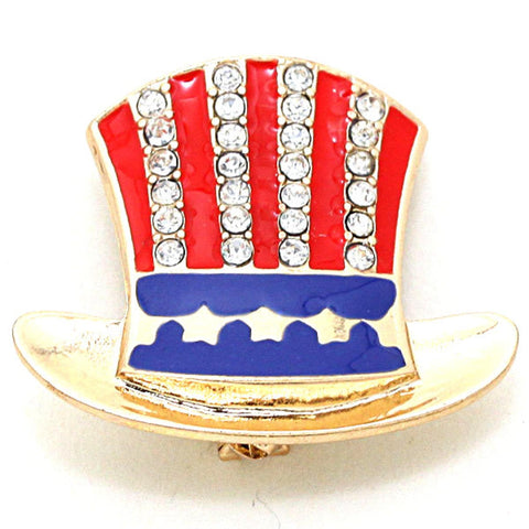 Independence Day / American Flag Patriotic Top Hat - Brooch/pin / AZFJBR025-GRB-PAT