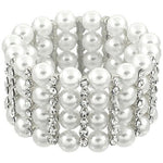 Trendy Fashion Imitation Pearl Elastic Bracelet For Women / AZBRST058-SPC
