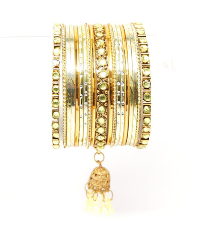 Bollywood style Indian designer metal bangle set. Size:2-08