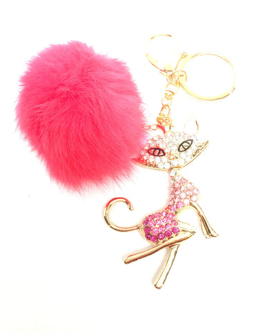 Rhinestone Crystal Fox Keychain Fox Pom Pom Fur Ball Key Chain / AZKCPCA01-GDP