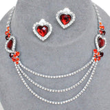 Silver Tone Rhinestone Necklace & Earring Set Pageant Prom Wedding Party / AZBLRH022-SRD