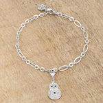 Snowman 0.2ct CZ Rhodium Holiday Charm Bracelet