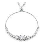 Adjustable Rhodium Plated Graduated Clear CZ Bolo Style Tennis Bracelet