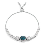 Adjustable Rhodium Plated Graduated CZ Bolo Style Tennis Bracelet