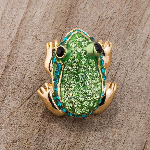 Green And Gold Tone Frog Brooch With Crystals