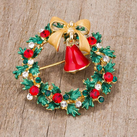 Wreath Brooch With Crystals