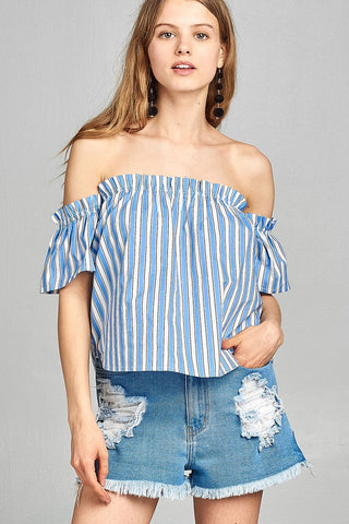 Ladies fashion short sleeve off the shoulder multi stripe top