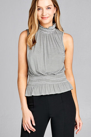Ladies fashion leeveless neck and waist smocked detail stripe rayon spandex top