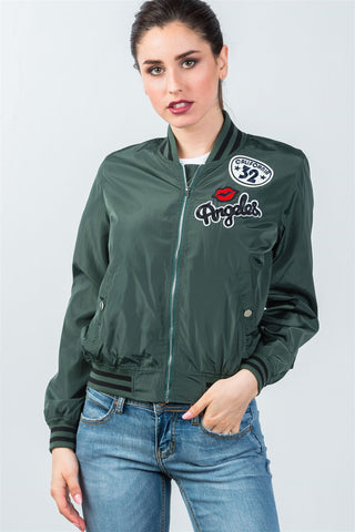 Ladies fashion ribbed trim patch bomber jacket