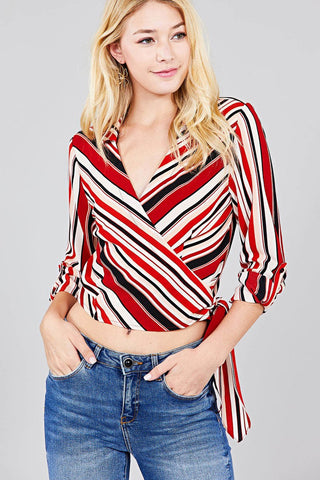 Ladies fashion 3/4 roll up sleeve surplice wrap w/side bow tie multi striped woven top