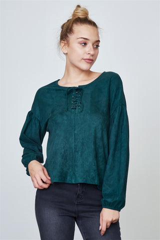 Ladies fashion velvet laced up top
