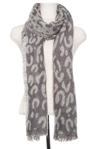 Animal print oblong fringe scarf