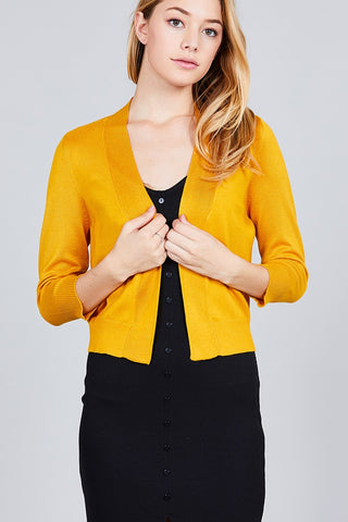 3/4 Sleeve Open Front Crop Cardigan