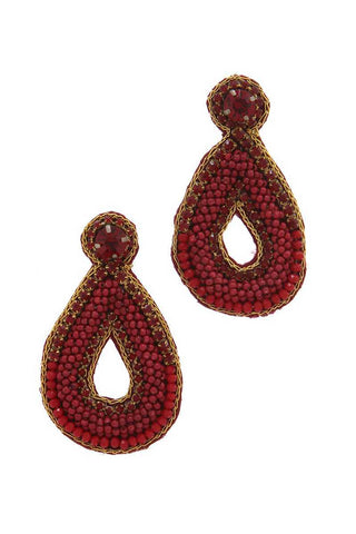 Beaded Teardrop Shape Post Earring