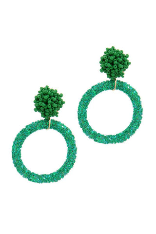 Glitter Ring Beaded Post Drop Earring